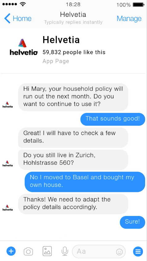 A screenshot of an example conversation between a lead generation AI assistant and insurance customer