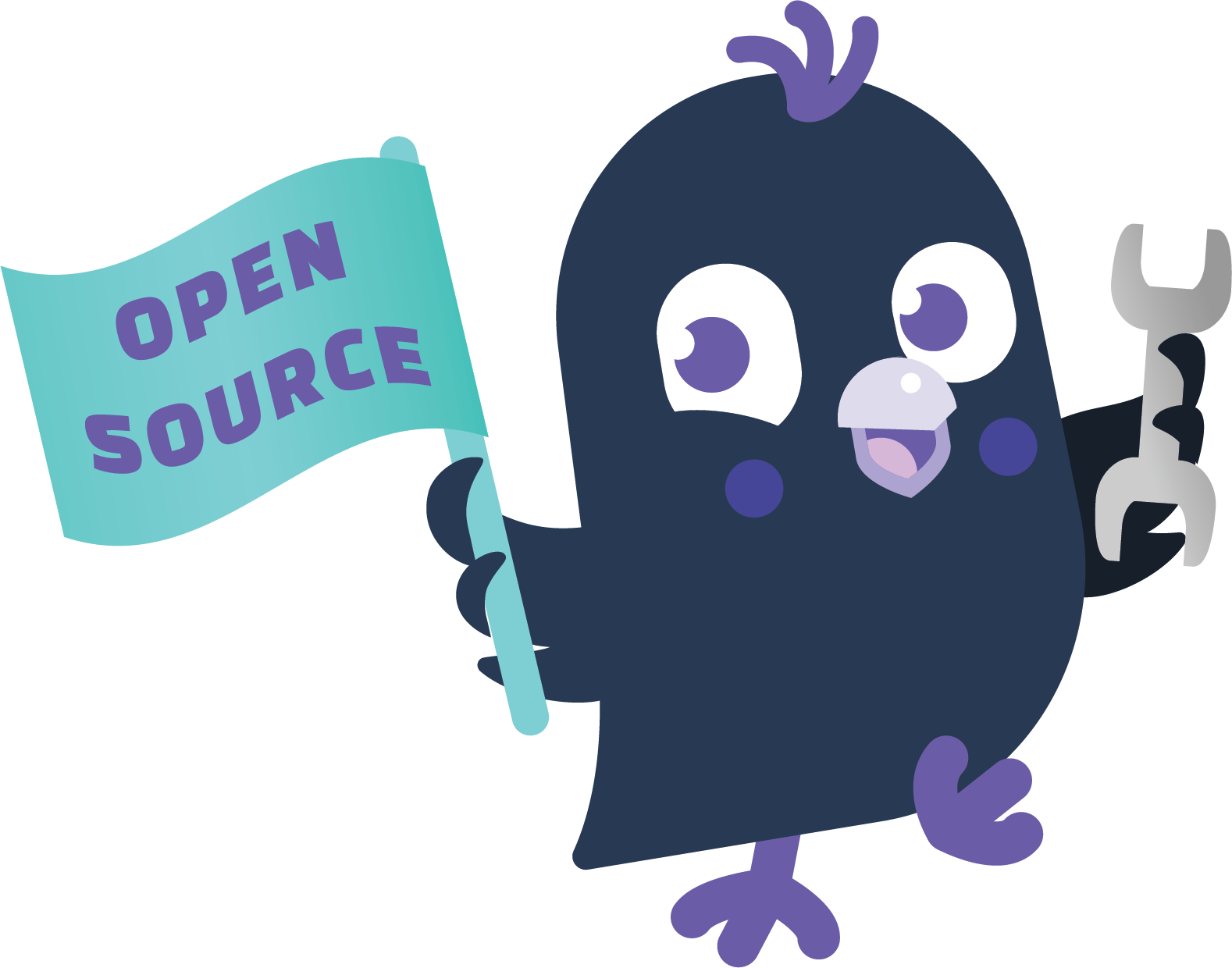 An image of Sara, the Rasa mascot bird, holding a flag that reads Open Source with one wing, and a wrench in the other